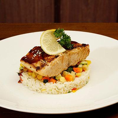 Pan Seared Black Cod served with Sautee Zucchini Carrot Sweet Corn